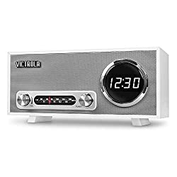 Victrola Bluetooth Digital Clock Stereo with FM Radio and USB Charging, White
