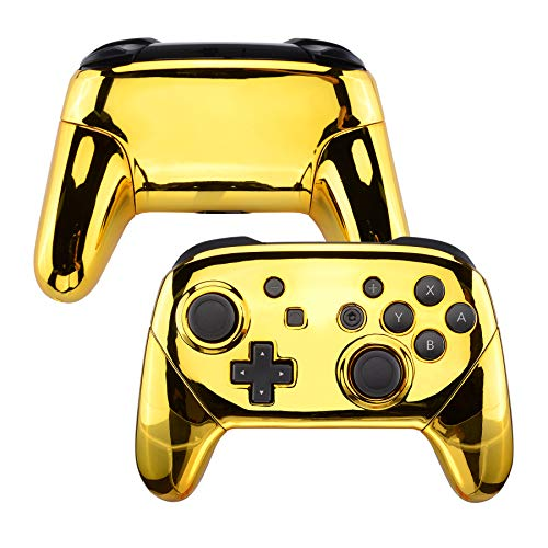 eXtremeRate Chrome Gold Faceplate Backplate Handles for Nintendo Switch Pro Controller, Glossy DIY Replacement Grip Housing Shell Cover for Nintendo Switch Pro - Controller NOT Included
