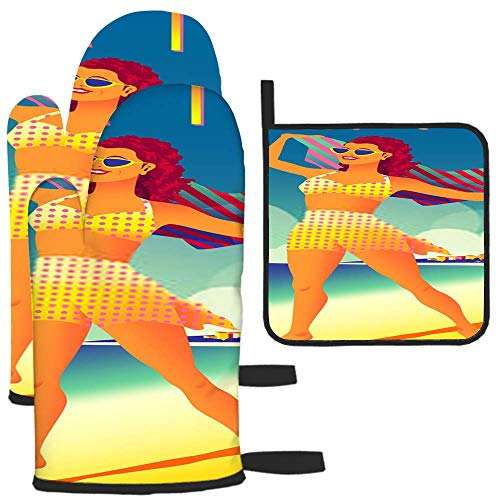 Bgejkos Girl On The Beach On The Adriatic Coast Topflappen Grillhandschuhe Ofenhandschuhe und Topflappen mit wasserdichtem Polyester Kochhandschuhe zum Kochen Backen Grillen