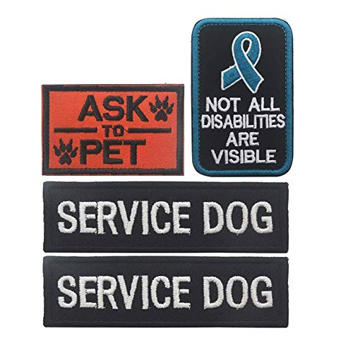 Arogheiz Service Dog Patch in Training Embroidered Patches for Vest Harness Backpack K9 Badge Hook & Loop Outdoor Tactical Dog Molle Vest Harness (Style E)