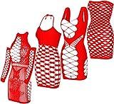 GVIANCXI 4 Pack Femmes des Filets de Nuit Chemise de Nuit Lingerie Maille Trou Chemise Badydoll Stretchy Mini Robe Rouge