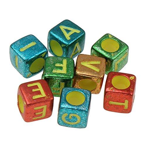 Perlin - 300 Buchstaben Perlen, Buchstabenperlen 6mm Würfel \'\'A-Z\'\' mit UV Bunte Buchstaben, Alphabet Beads, Perlenmischung Perle zum fädeln für Armbänder Auffädeln, Halsketten R221