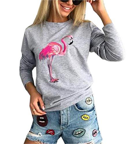 Simple-Fashion Freizeit Flamingo Druck Tops Jumper Bequeme Pullover T-Shirt Herbst Winter Damen Sweatshirt Mode Rundhals Langarm Oberteile Pulli Blouse