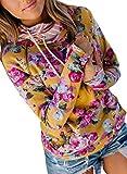 LOSRLY Sudadera con capucha para mujer, con estampado de flores, manga larga, agujero para el pulgar, bolsillo canguro, con cordón
