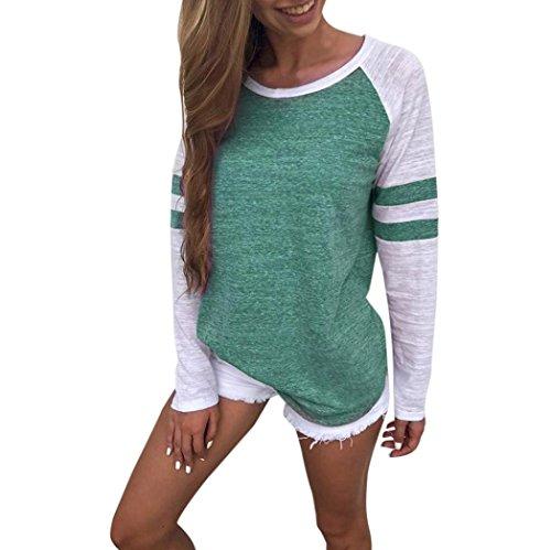 OVERDOSE Mode Damen Frauen Rundhals Lange Hülsen Spleiß Blusen Oberseiten Kleidung T-Shirt Tops Pullover (L, Green)