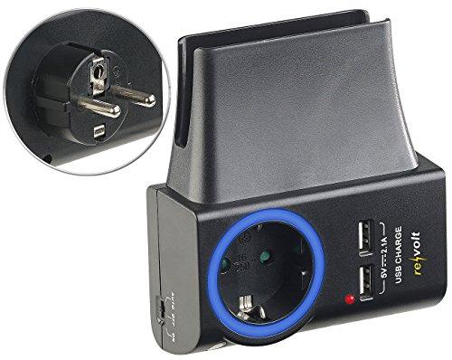 revolt pared cargador: Toma 4 en 1, 2x USB, LED-Ring & Smartphone-Halterung, 2,1 A, 10,5 W (Estación de carga de teléfonos móviles)