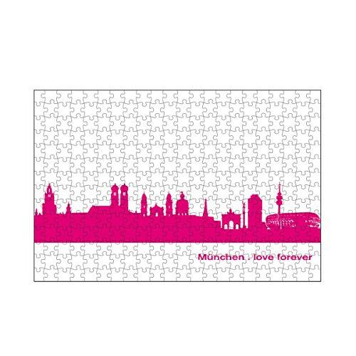 artboxONE-Puzzle M (266 Teile) Städte München 04 Pink Skyline Print Monochrome - Puzzle München City City