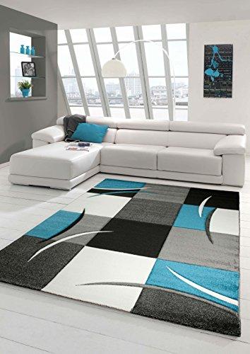 Salon Designer Tapis Contemporain Tapis, Tapis à Poils avec des Diamants Contour de Coupe Motif Turquoise Gris Blanc Noir Größe 160x230 cm