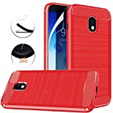 ARSUE Samsung Galaxy J3 2018 Case,Galaxy J3 Star/J3 Eclipse 2/J3 Orbit/J3 Achieve/Express Prime 3/Amp Prime 3/J3 Prime 2/J337 Case Cover,Soft TPU Carbon Fiber Slim Protective,Red