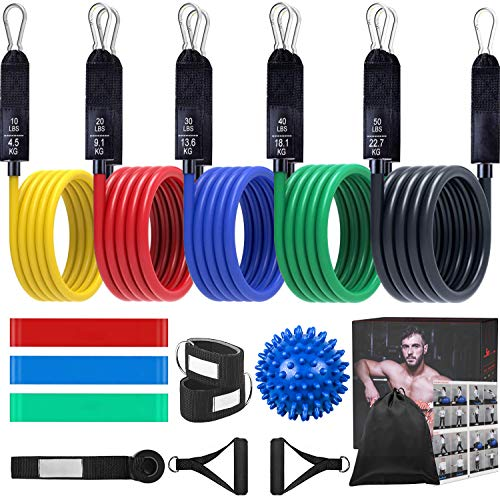 16Pcs Resistance Bands Fitnessband Set, 5 Expander Set mit Griffen, 3 Expander Bands Bänder...
