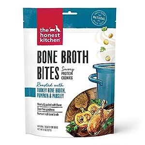 The Honest Kitchen Bone Broth Bites – Savory Protein Cookie Dog Treats – Turkey Bone Broth, Pumpkin & Parsley, 8 oz. Bag