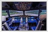 Großes Commercial Airplane Pilot Cockpit Runway Foto Weiß