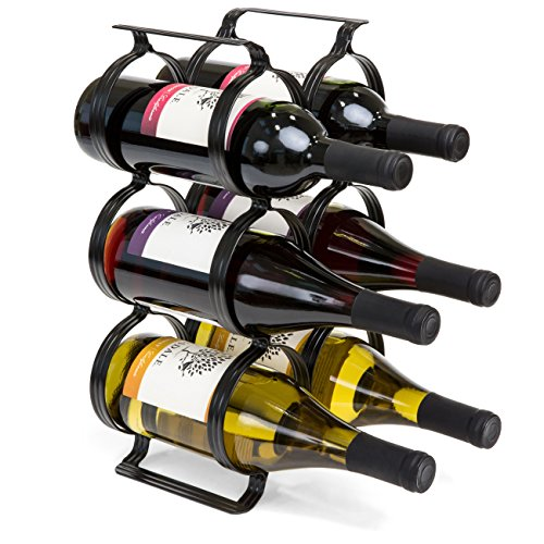Best Choice Products 6-Bottle Secure Steel Countertop Wine Rack Storage w/Built-in Handles - Black