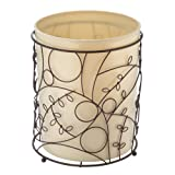 Product Image of the iDesign Twigz Metal Wire and Plastic Wastebasket Trash Can Garbage Can for Bathroom, Bedroom, Home Office, Kitchen, Patio, Dorm, College, Vanilla Tan and Bronze