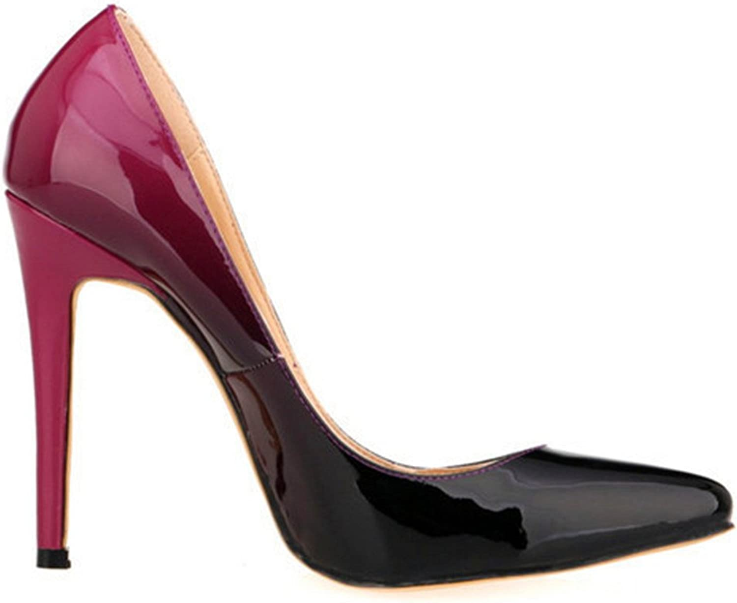 Owen Moll Women Pumps, Sexy Mixed colors PU Leather Pointed Toe Shallow Sandal shoes