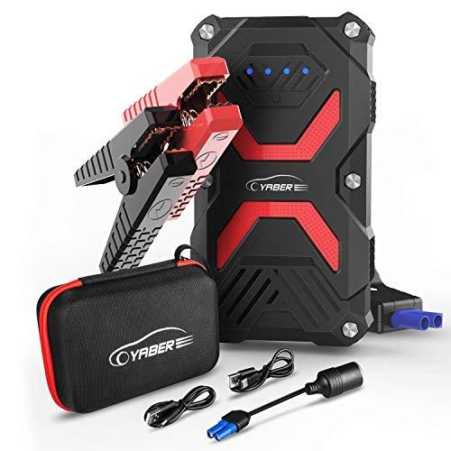YABER Booster Batterie, 1000A 13800mAh Booster Batterie Voiture Moto (Jusqu'à 5.0L Essence 3.0L Gazole) avec Lamp LED,Deux Ports USB à Charge Rapide 3.0
