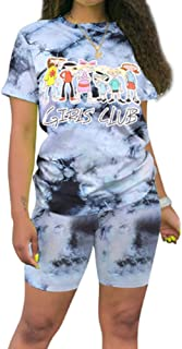 2 Piece Outfits for Women Summer - Fashion Tie Dye Crop Top Short Sets Sportswear Tracksuit Clubwear