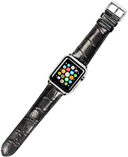 Debeer Replacement Watch Strap - Genuine Alligator - Black - Fits 42mm Apple Watch [Silver Adapters]