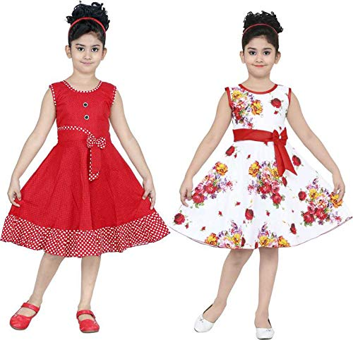 ULTRA TREND Girl's A-Line Knee Length Dress (Pack of 2) (COMBORBWMF-28_Multicolored_5-6 Years)