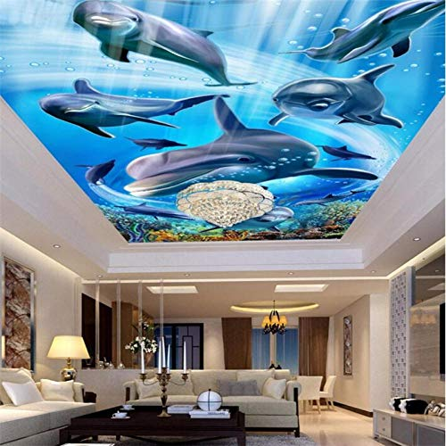 Papel Tapiz Personalizado Mural De Fotos En 3D Delfines Marinos Techo Familiar Techo Mural De Sala De Estar Papel Tapiz De Suelo 3D,250*175Cm