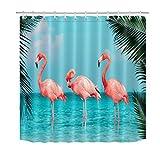 HVEST Flamingos Duschvorhang Tropische Pflanzen Vögel Rosa Flamingos Gehen auf dem blauen Meer Strand Bananen Palmen Blätter Badezimmer Dekor mit 12 Haken 174 x 178 cm Polyestergewebe Kunststoff Tuch