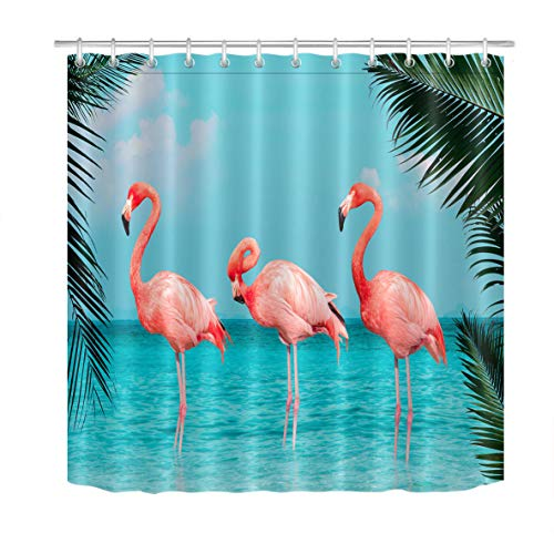 HVEST Flamingos Shower Curtain Tropical Plant Birds Pink Flamingos Walking on The Blue Sea Beach Banana Palm Leaves Bathroom Decor with 12 Hooks 69X70Inche Polyester Fabric Plastic Cloth