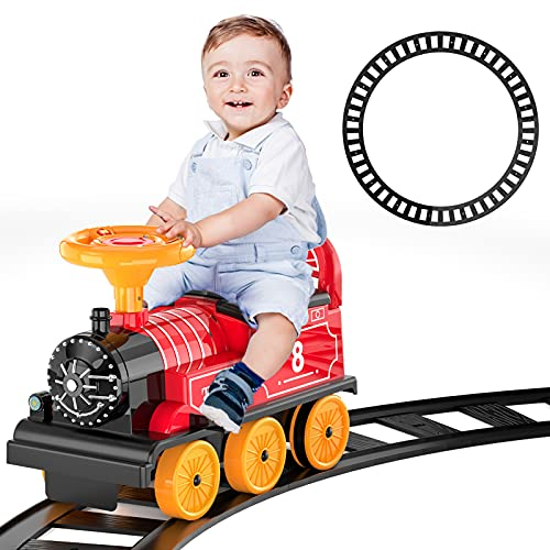 Product Image of the Lucky Doug Ride On Train with Track Toy for Kids, Ride On Toy Electric Train...