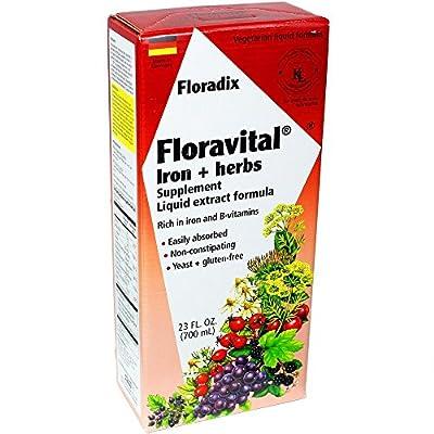 Floravital Liquid Iron Supplement + Herbs 23 Ounce XL - Vegan, Yeast & Gluten Free - Non Constipating