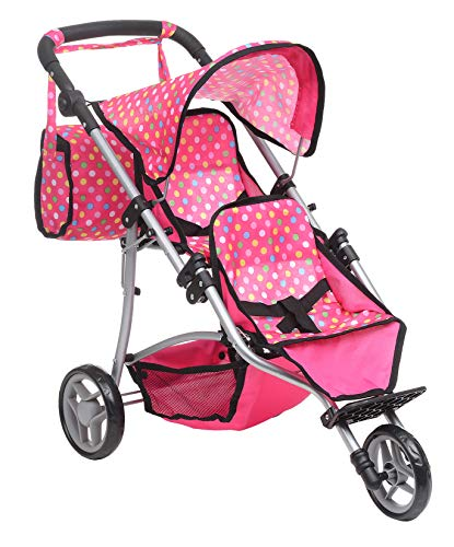 Exquisite Buggy, Twin Doll Stroller with Diaper Bag and Pink & Polka Dots Design