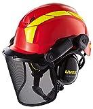 Uvex Pheos - Casco de Protección Forestal - con Visera y Protección Auditiva - Rojo