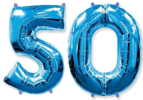 FIESTADEKOR (Oferta Antes 11,90€) Globo número 50 para Fiestas de cumpleaños, XXL Medida 100 cm, inflándolo con Helio flotará Durante 5/6 días. (Azul)