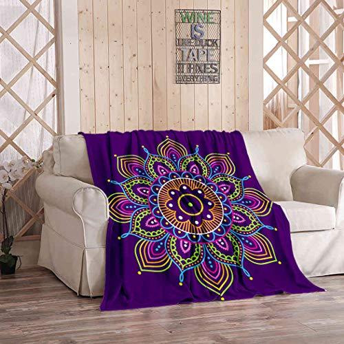 Kuidf - Manta primitiva de franela sencilla y colorida, diseño abstracto de mandala morada, diseño étnico, estilo boho, de lujo, de gran tamaño, para sofá cama o sofá de 50 x 60 pulgadas