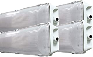 (4-Pack) Orilis 36W Commercial Indoor/Outdoor Integrated 2 Ft Vapor Tight Waterproof Anti-Fogging LED Fixture - 4500K - 3,600 Lumens