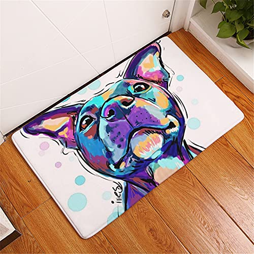 3D Animal Dog Puppy Pattern Rectangle Door Mat Non-slip Machine Washable , Flannel Area Rug Carpet for Indoor, Outdoor, Living Room, Hallway, Courtyard (White 1, 50 x 80 cm)