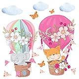 greenluup® Öko Wandsticker Kinderzimmer Mädchen - Deko für Babyzimmer zum aufkleben mit Heißluftballon & niedlichen Tieren, Wolken Wimpelkette / Elefant & Fuchs- und Blumen mint rosa