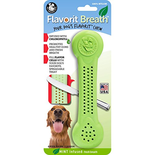 Pet Qwerks Flavorit Mint Flavor Nylon Chew for Fresh Breath  Fillable Dog Bones for Aggressive Chewers Tough Power Chewer Bone Toys   Made in USA with FDA Compliant Nylon  for Large Breed Dogs