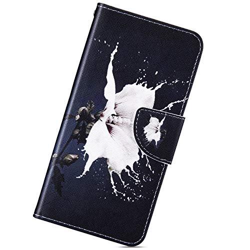 Kompatibel mit Samsung Galaxy A5 2017 Hülle,Urhause Gemalt Wallet Flip PU-Handyhülle mit [Kartenslots][Magnetverschluss] Ständer Funktion mit Lanyard Stoßfeste Schutzhülle,weiße Blume