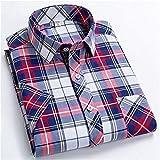 HDDFG Camisas a cuadros para hombres, verano, manga corta, ocio, ajustado, camisa a cuadros, cuello cuadrado, suaves, casuales, para hombre, con bolsillo frontal (Color : Color 4, Size : 3XL code)