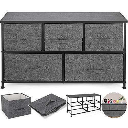 FlowerW Stoff Aufbewahrungsschrank mit 5 Schubladengestellen Aufbewahrungsregalen Aufbewahrungs Organisator für Büro und Zuhause(Dunkel Grau)
