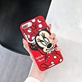 Soft Silicone Red Minnie Mouse Case for iPhone 7+ 7Plus 8Plus Large Size Disney Cartoon Polka Dots Bow Shiny Glittery Protective Cute Lovely Gift Little Girls Teens Kids Women Daughter
