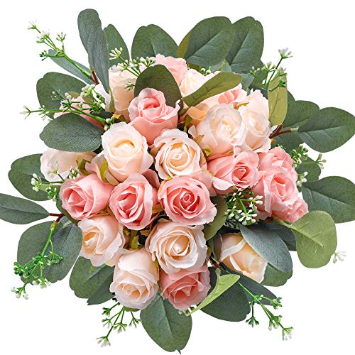 AGEOMET 34pcs Artificial Rose Flowers, 24 Fake Flowers and 10 Artificial Eucalyptus Leaves Stems in Bulk Silk Flowers Bouquet, for Home Bridal Wedding Party Festival Decor