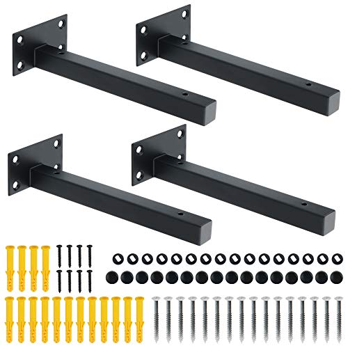Alise 8-Inch Shelf Brackets Heavy DutyT Brackets for Floating Shelves Boards Wall Hanging SupportBlack Finish(Pack of 4)