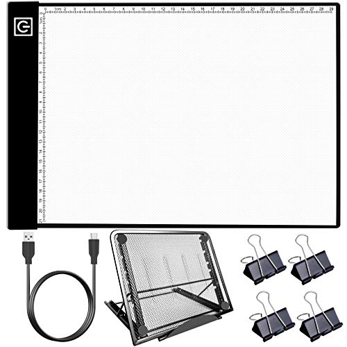 Light Pad Kit, HIRALIY A4 LED Light Box for Tracing Diamond Painting Light Boards with Metal Stand 4 Fasten Clips for Easy Vinyl Weeding, 5D DIY Diamond Painting, Tracing, Drawing