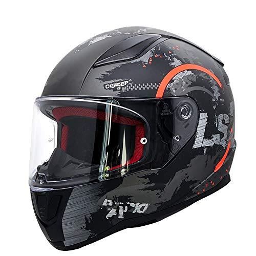 SMINNG Casco Integral para Motocicleta,Aprobado Dot/ECE Motocicleta, Ciclomotor Casco Integrado para Motocicleta,Adultos Hombres Cascos De Seguridad Montar con Visera E, XL(61~62cm)