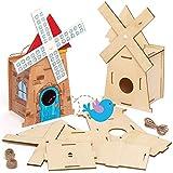 Baker Ross Kits de Casitas de Madera Para Pájaros Con Molino a Viento AT864 (paquete de 2) para proyectos de arte y manualidades para niños, surtidos