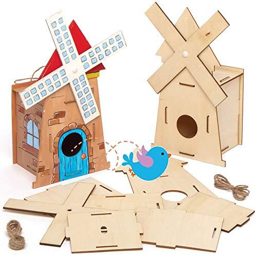 Baker Ross AT864 Windmühle Vogelhaus Holz Bastelset - 2er Pack, Nistkästen für Vögel zum Bemalen und Basteln für Kinder