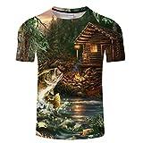 Lyy Home T-Shirt à Manches Courtes Unisexe Mode Mode à Manches Courtes Chemises 3D Creative Imprimé Piscine Cottage in The Woods Motif Personnalité Cool T-Shirts 3DT Shirt Eté Vêtements pour Hommes