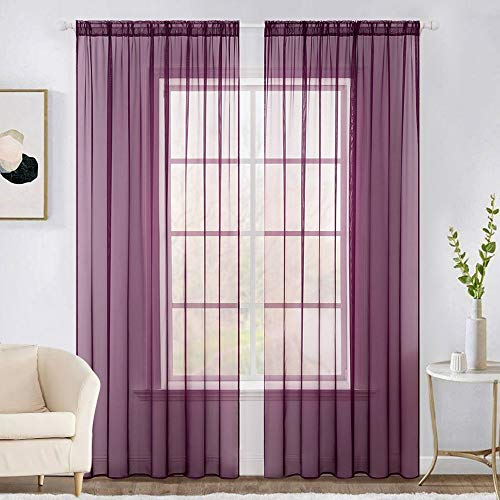 MIULEE 2 Panels Solid Color Sheer Window Curtains Elegant Window Voile Panels/Drapes/Treatment for Bedroom Living Room (54 X 84 Inches Plum Purple)