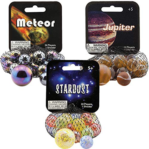 Mega Marbles 3 Pack - Stardust, Jupiter, & Meteor Game Nets - Includes 1 Shooter Marble & 24 Player Marbles Per Net