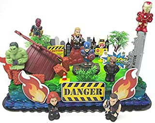 20 Piece AVENGERS & FRIENDS SUPER HERO Birthday Cake Topper Set Featuring Avenger Super Hero Crew Characters and Decorative Themed Accessories